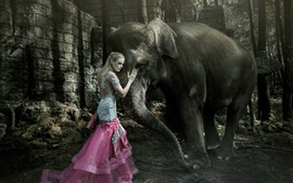 Preview wallpaper Blonde girl and elephant