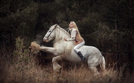 Preview wallpaper Blonde girl riding white horse