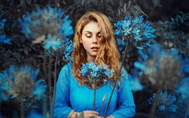 Preview wallpaper Blue dress girl, blonde, blue flowers, closed eyes