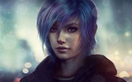 Preview wallpaper Blue hair fantasy girl, face, night, backlight