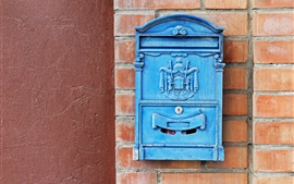 Preview wallpaper Blue mailbox, wall, bricks