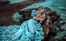 Preview wallpaper Blue skirt girl sleeping, coast, stones
