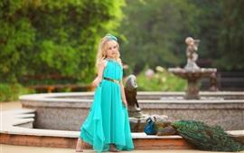 Preview wallpaper Blue skirt little girl, blonde, peacock