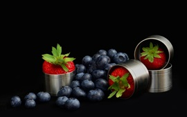 Preview wallpaper Blueberries and strawberry, black background