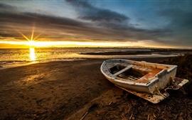 Boat, sea, beach, sunset, clouds