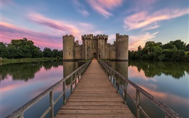 Bodiam Castle, England, bridge, lake