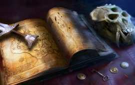 Book, sword, skull, key