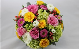 Bouquet, colorful flowers, asters, roses, hydrangeas, buttercups