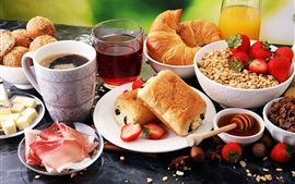 Preview wallpaper Bread, coffee, meat, cheese, strawberry