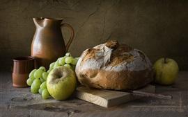 Pão, uvas, maçã, ainda vida