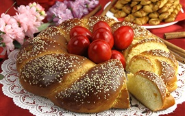 Preview wallpaper Bread, red eggs, flowers, Easter