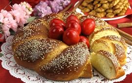 Pan, huevos rojos, flores, Pascua