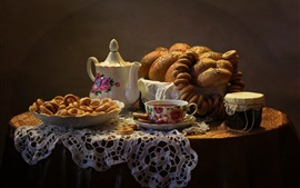 Preview wallpaper Bread, tea, table