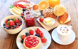 Preview wallpaper Breakfast, fruit, strawberry, jam, orange, muesli, coffee, bread