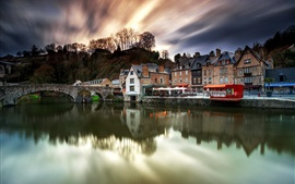 Bretagne, France, old city, houses, river, bridge, dusk