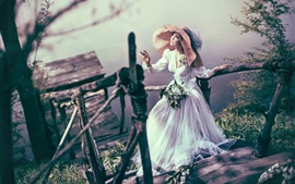 Bride, girl, hat, ladder, lake