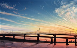 Bridge, river, sunset, art painting