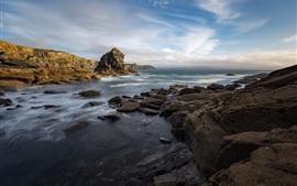 Bretagne, France, côte, pierres, mer