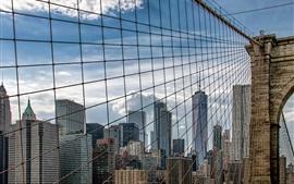 Brooklyn Bridge, Nueva York, Estados Unidos, rascacielos