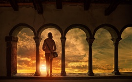 Building, arch, sun, girl