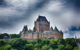 Preview wallpaper Canada, Quebec, castle, trees, clouds
