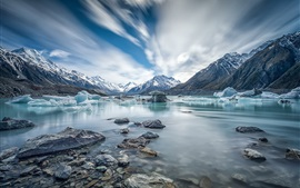 Preview wallpaper Canterbury, New Zealand, Mount Cook, river, ice, winter