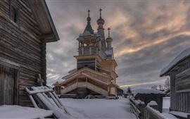 Preview wallpaper Castle, snow, winter, clouds, dusk, Russia, Arkhangelsk oblast