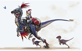 Preview wallpaper Cat riding dinosaur, knight, mouse, butterfly, art picture