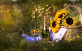 Preview wallpaper Champagne, sunflowers, basket, grass, summer