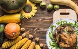 Pollo, calabaza, maíz, girasol, naturaleza muerta