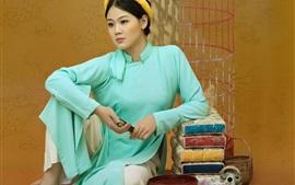 壁紙のプレビュー 中国の女の子、レトロスタイル、お茶