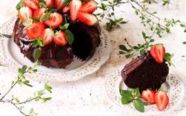 Preview wallpaper Chocolate cake, strawberry, food