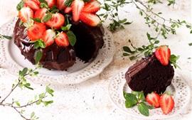 Chocolate cake, strawberry, food