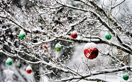 Christmas balls, tree, decoration, snow, winter