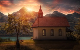 Church, house, trees, mountains, river, sunset