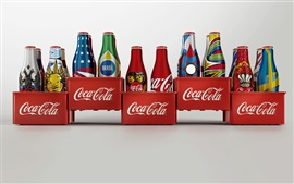 Preview wallpaper Coca Cola drinks, bottles, white background