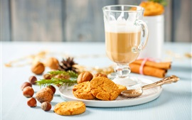 Coffee, cookies, nuts, food