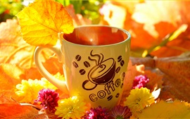Coffee cup, yellow leaves, flowers, autumn