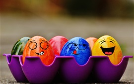 Colorful Easter eggs, face