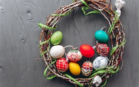 Colorful Easter eggs, wreath