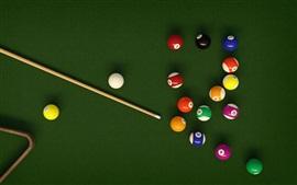 Bolas coloridas, bilhar, mesa