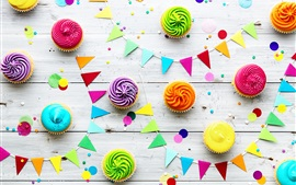 Preview wallpaper Colorful cupcakes and colorful flags