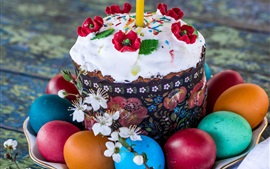 Colorful eggs, cake, Easter