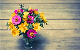 Colorful flowers, yellow and pink, petals, vase