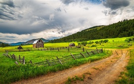 Preview wallpaper Countryside, farmland, fence, grass, trees, road, clouds