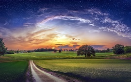 Preview wallpaper Countryside, fields, village, trees, clouds, sky, stars, sunset