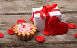 Cupcake, corazones de amor, regalo, romántico