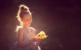 Cute little girl, backlight, sunshine