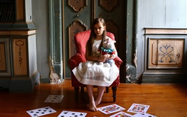 Preview wallpaper Cute little girl, child, cards, chair, toy rabbit