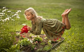 Preview wallpaper Cute little girl levitation, chamomile, watering flowers